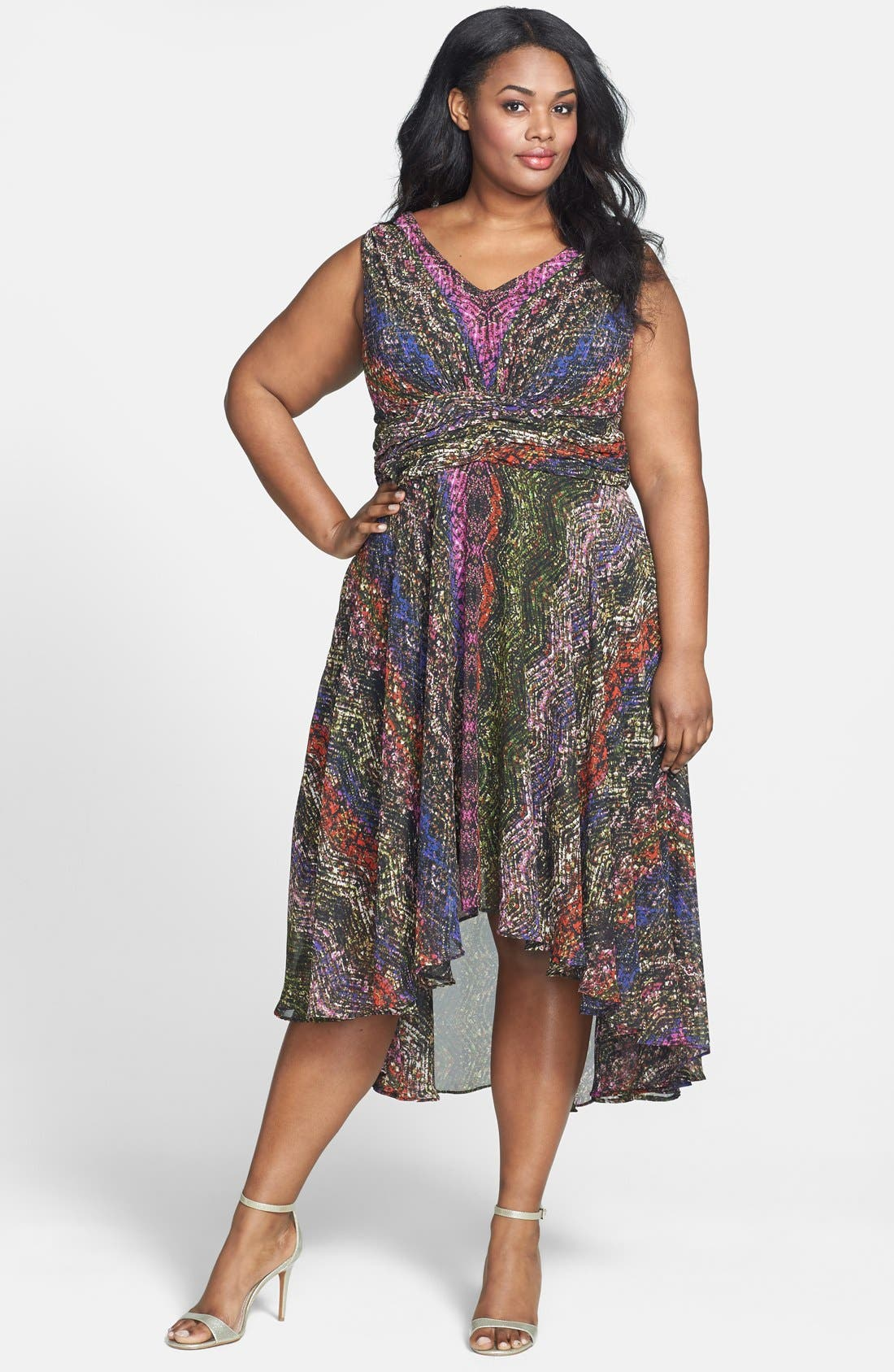 Main Image - Ivy & Blu Print Sleeveless High/Low Dress (Plus Size)