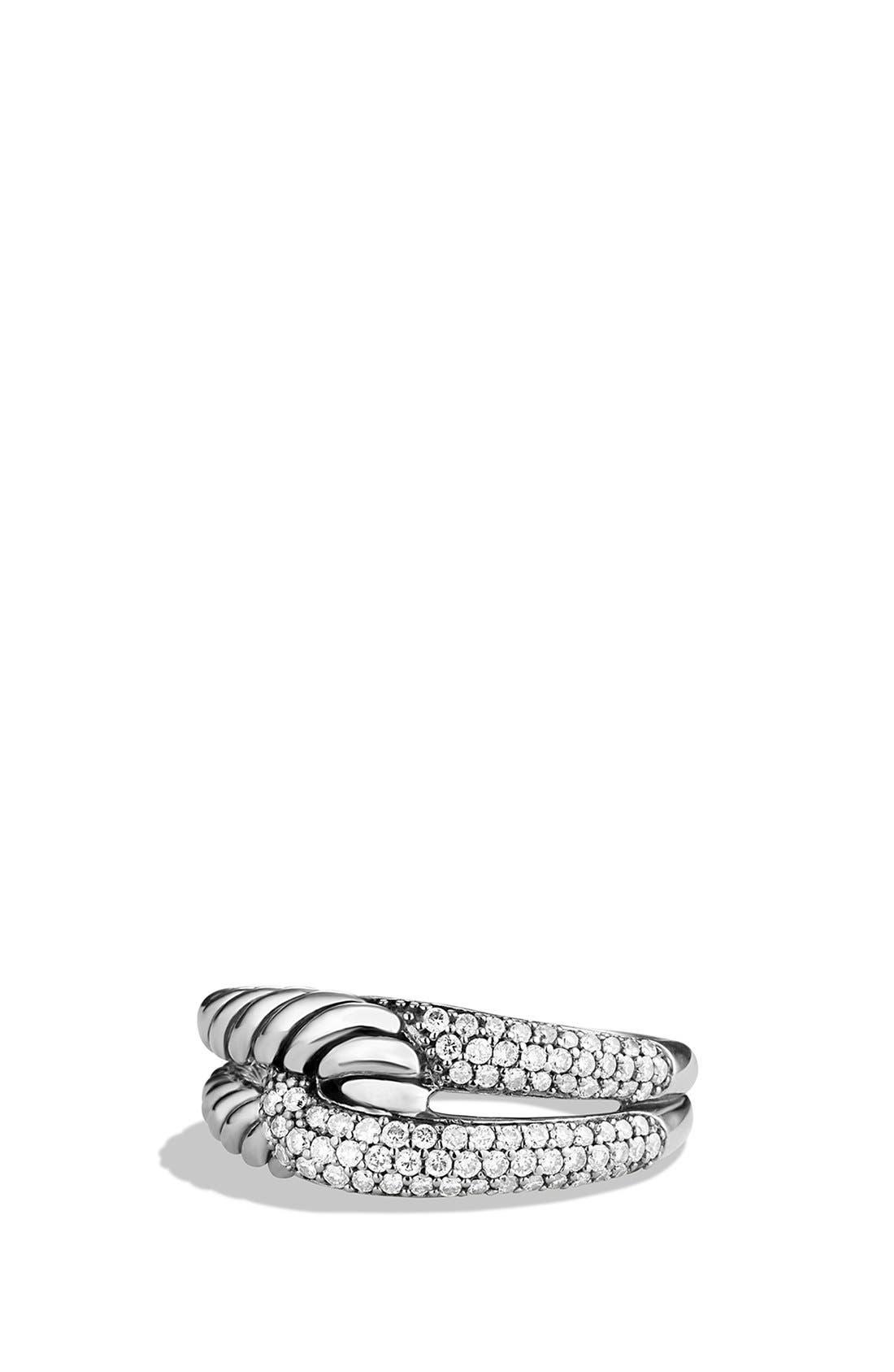 David Yurman 'Labyrinth' Single Loop Ring with Diamonds