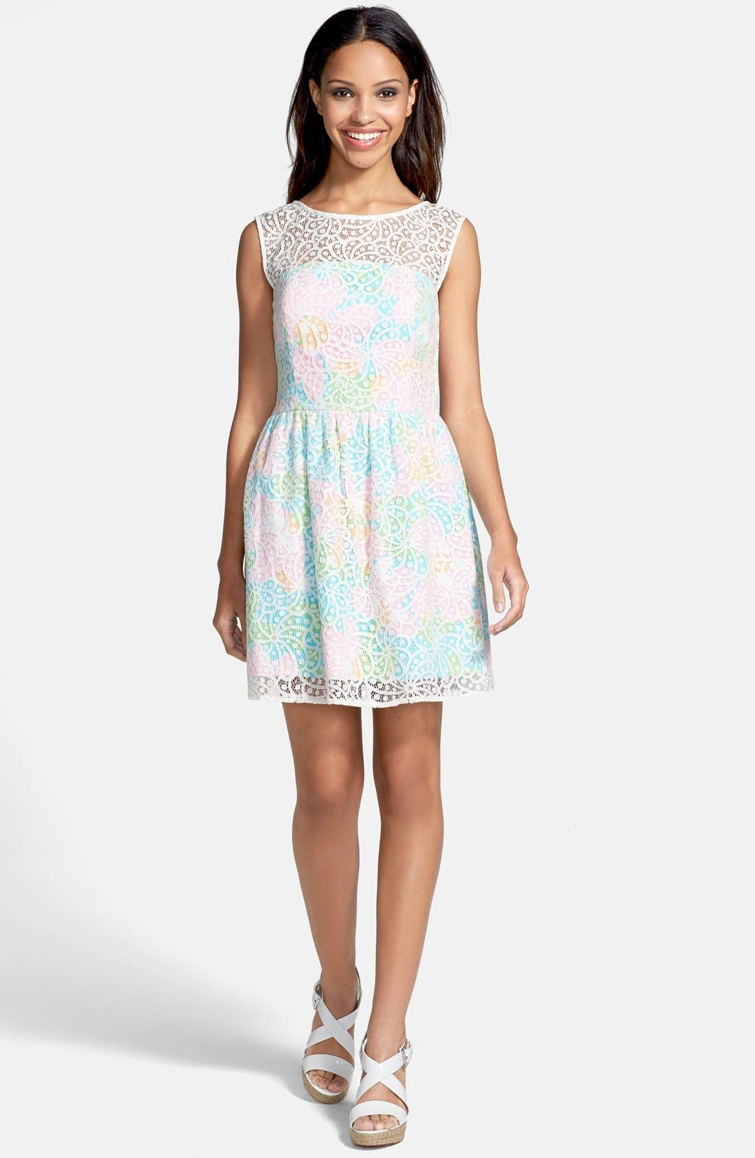 Main Image - Lilly Pulitzer® 'Morrison' Lace Overlay Poplin Fit & Flare Dress