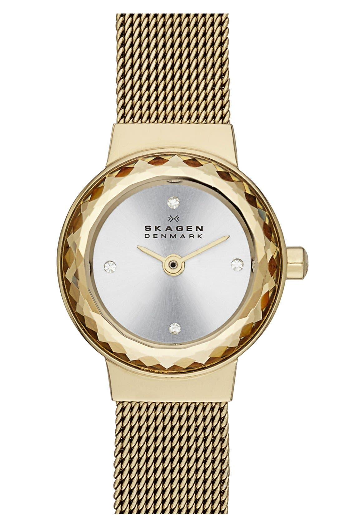Main Image - Skagen 'Leonora' Faceted Bezel Mesh Strap Watch, 20mm