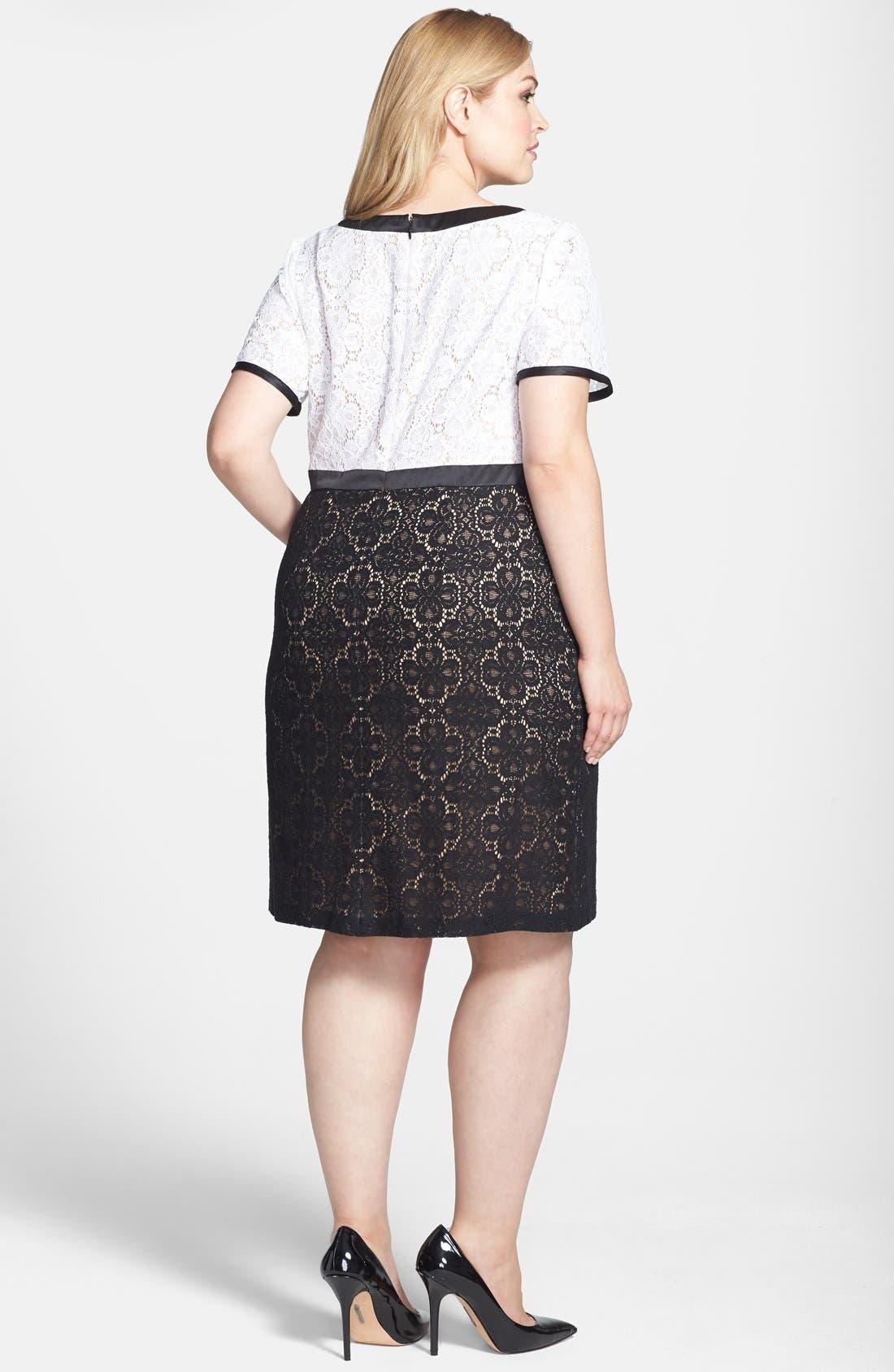 Alternate Image 2  - Adrianna Papell Colorblock Lace Sheath Dress (Plus Size)