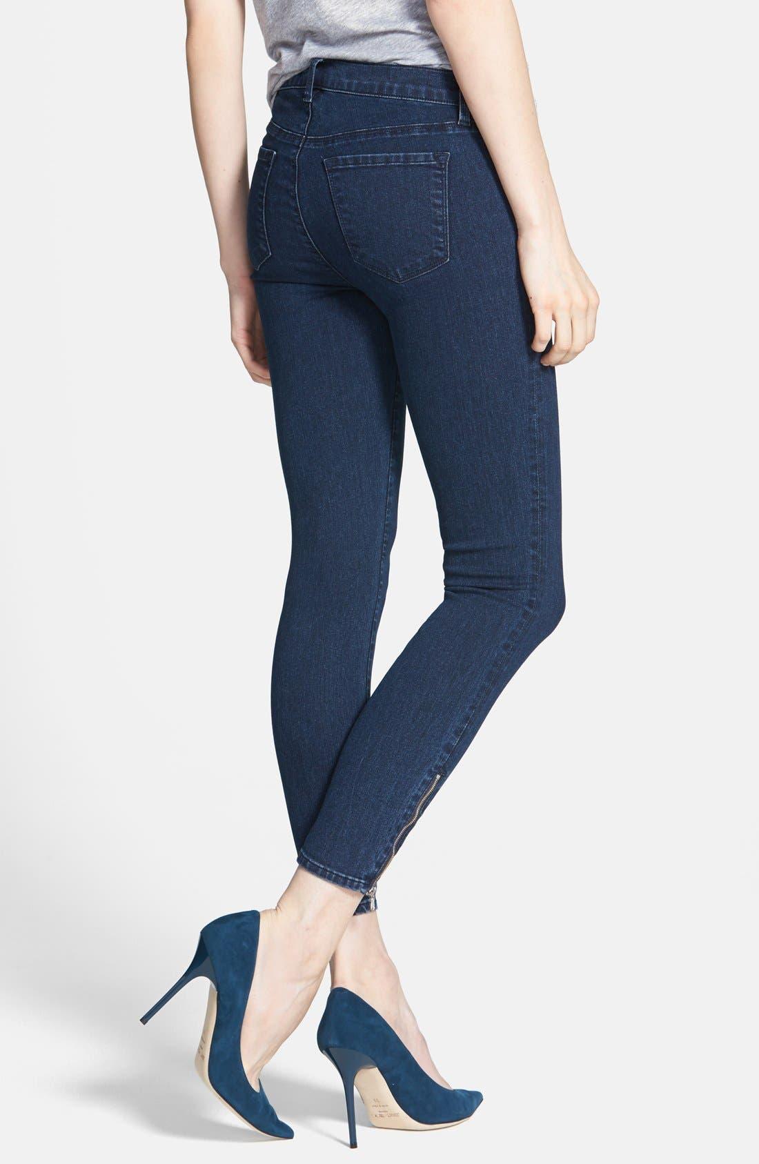 Alternate Image 2  - J Brand 'Tali' Zip Detail Skinny Crop Jeans (Blue Depth)
