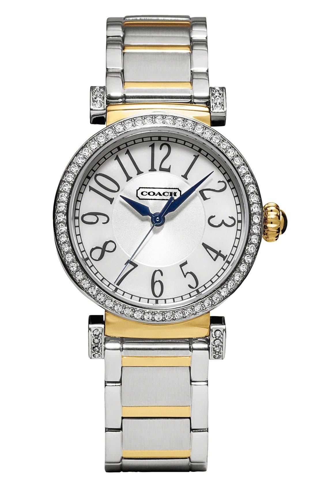 Main Image - COACH 'Madison' Round Crystal Bezel Bracelet Watch, 32mm