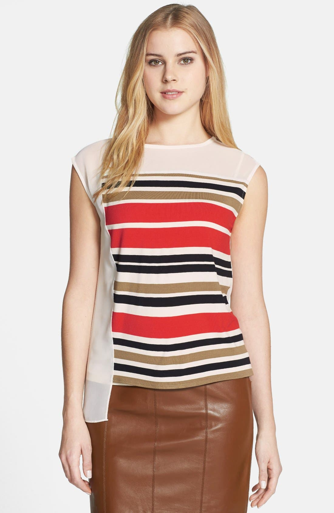 Main Image - Vince Camuto 'Legacy Stripe' Mixed Media Blocked Top