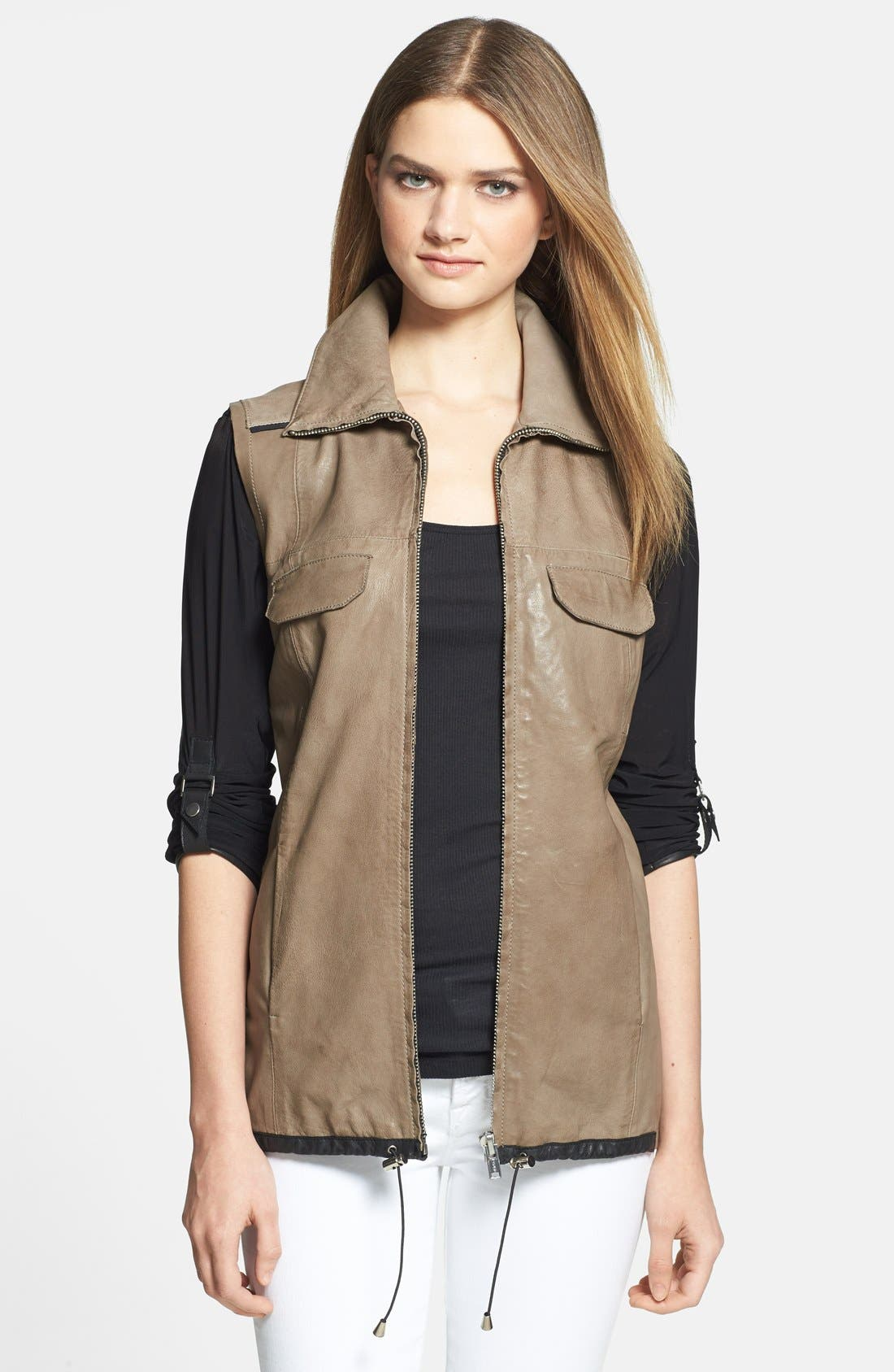 Alternate Image 1 Selected - LaMarque 'Esther' Leather Jacket with Removable Mesh Sleeves