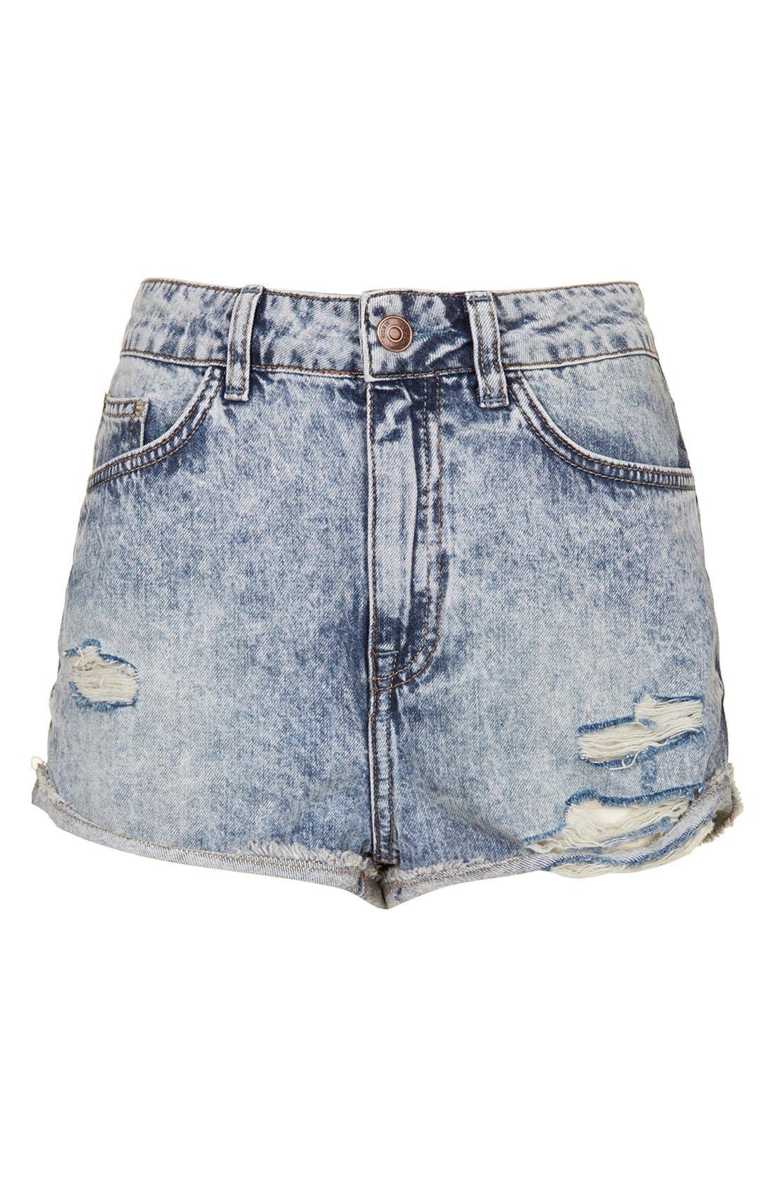 Alternate Image 3  - Topshop Moto 'Hallie' Acid Wash Denim Shorts (Light Denim)