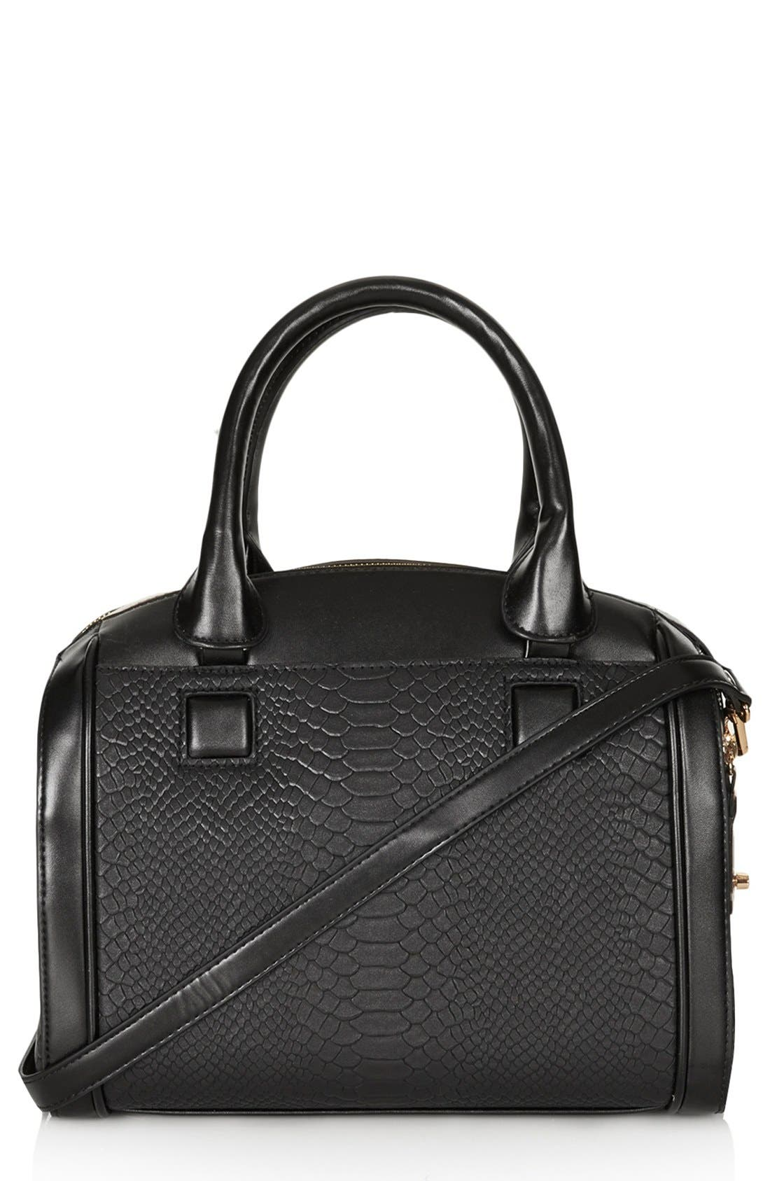 Main Image - Topshop Double Zip Faux Leather Bag