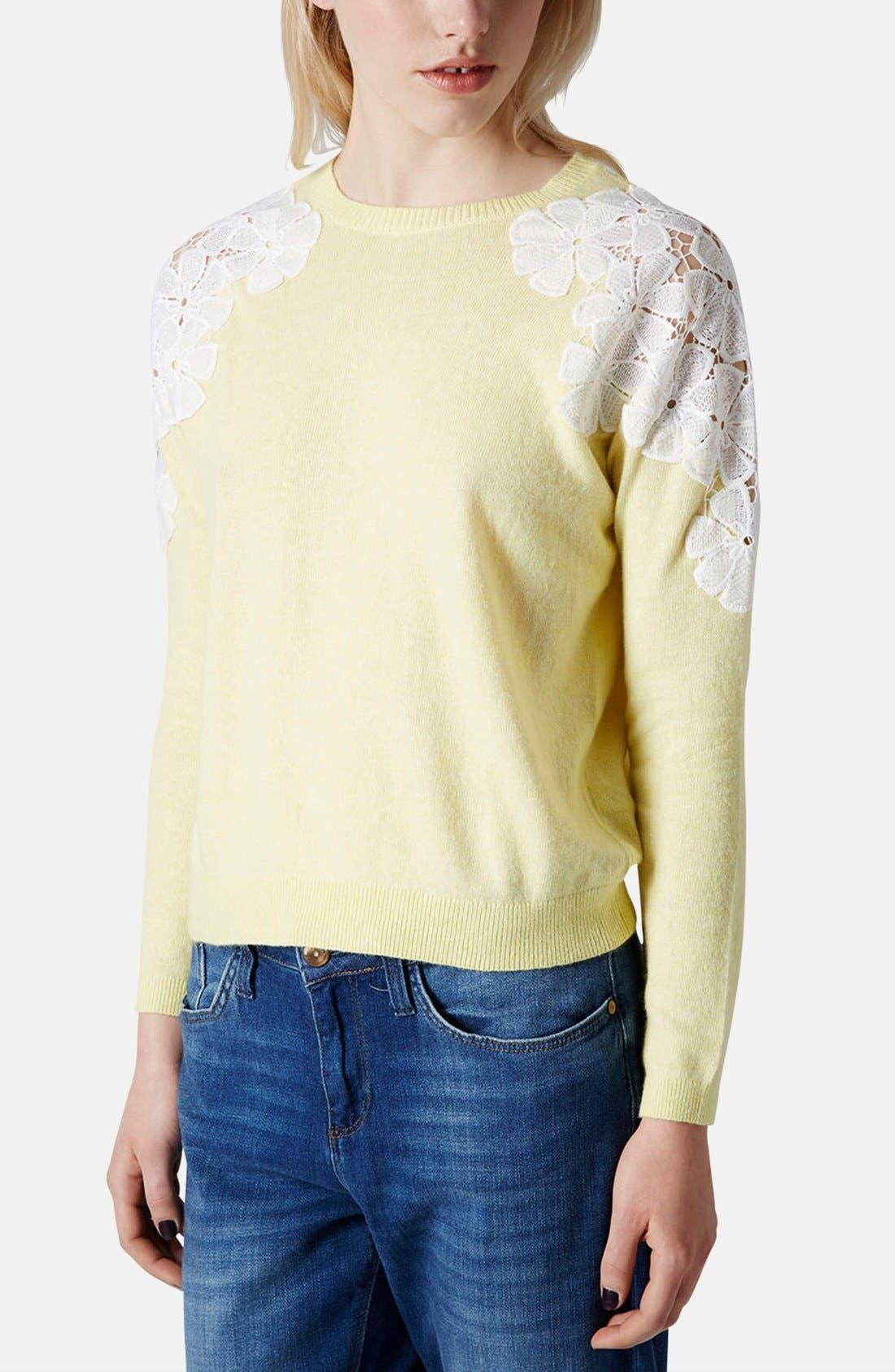 Alternate Image 1 Selected - Topshop Embroidered Shoulder Knit Sweater
