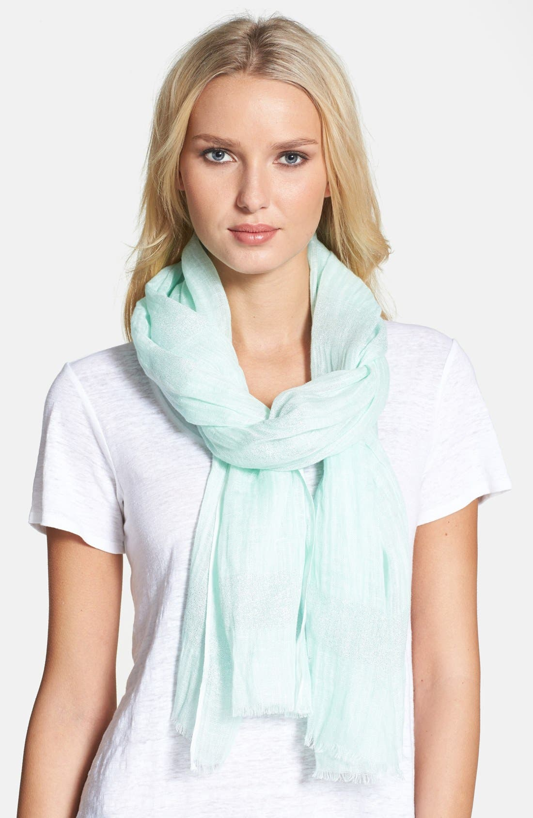 Main Image - Eileen Fisher Woven Linen Blend Scarf (Regular & Petite)