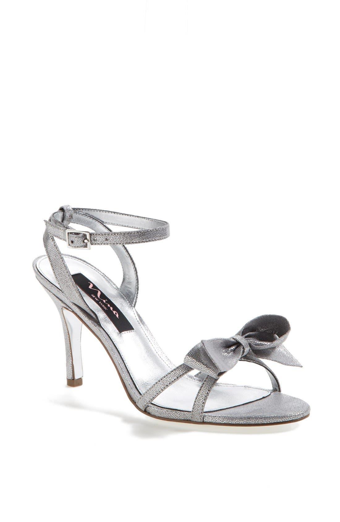 Alternate Image 1 Selected - Nina 'Vianna' Satin Bow Sandal
