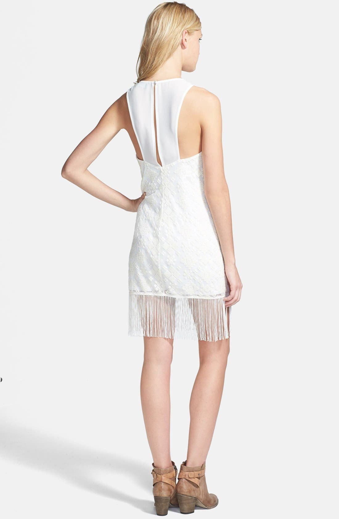 Alternate Image 2  - ASTR Embroidered Mesh Fringed Body-Con Dress