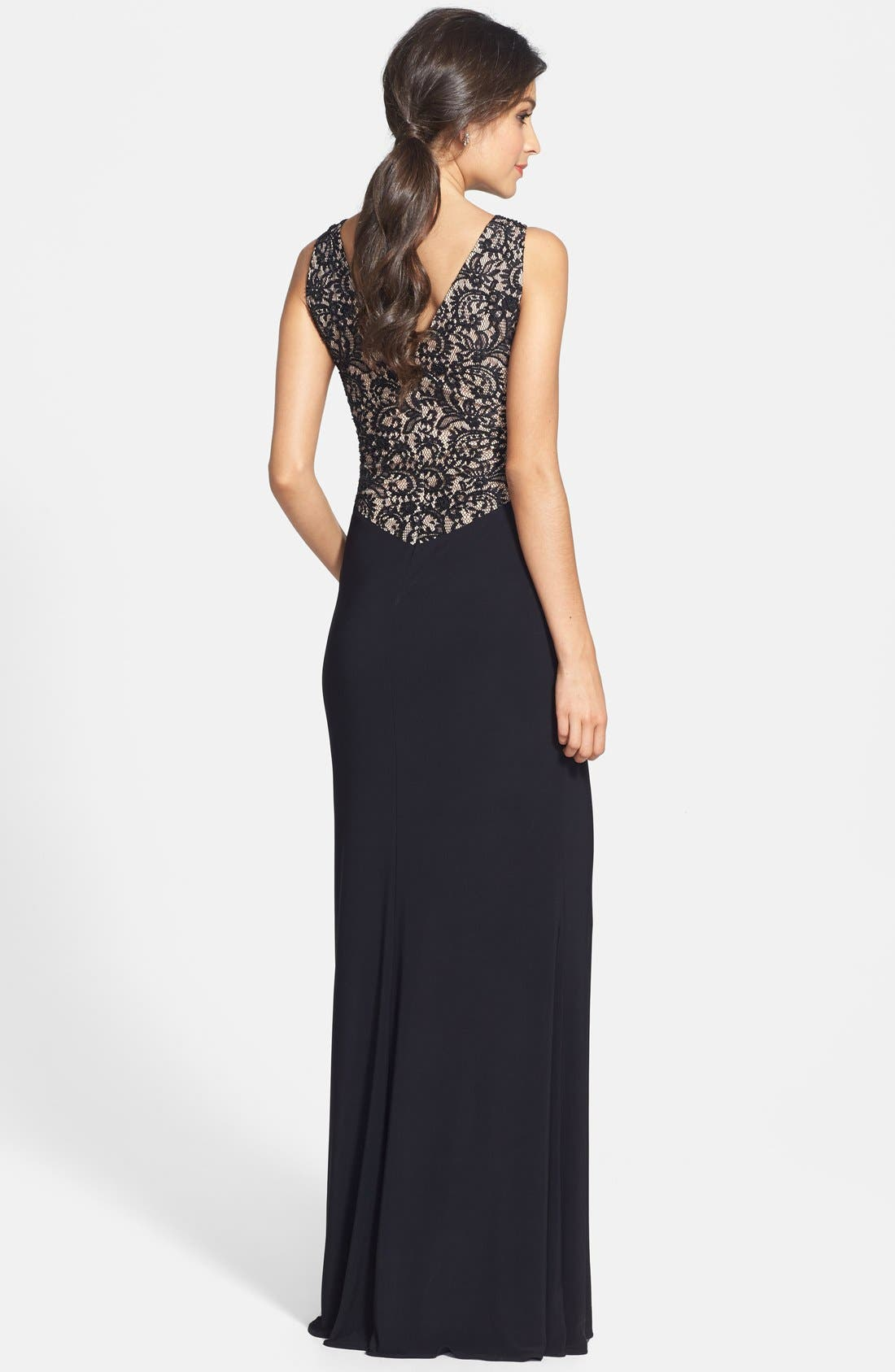 Alternate Image 2  - JS Boutique Lace Back V-Neck Matte Jersey Gown