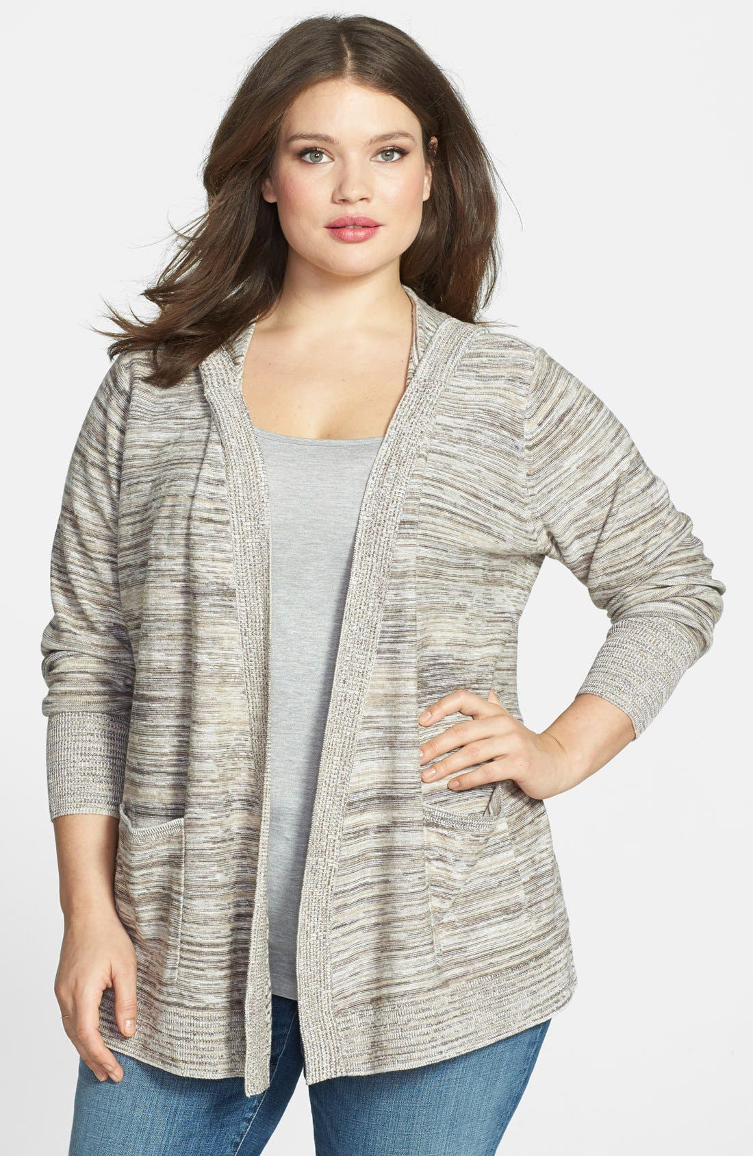 Main Image - Sejour Space Dye Open Front Hooded Cardigan (Plus Size)