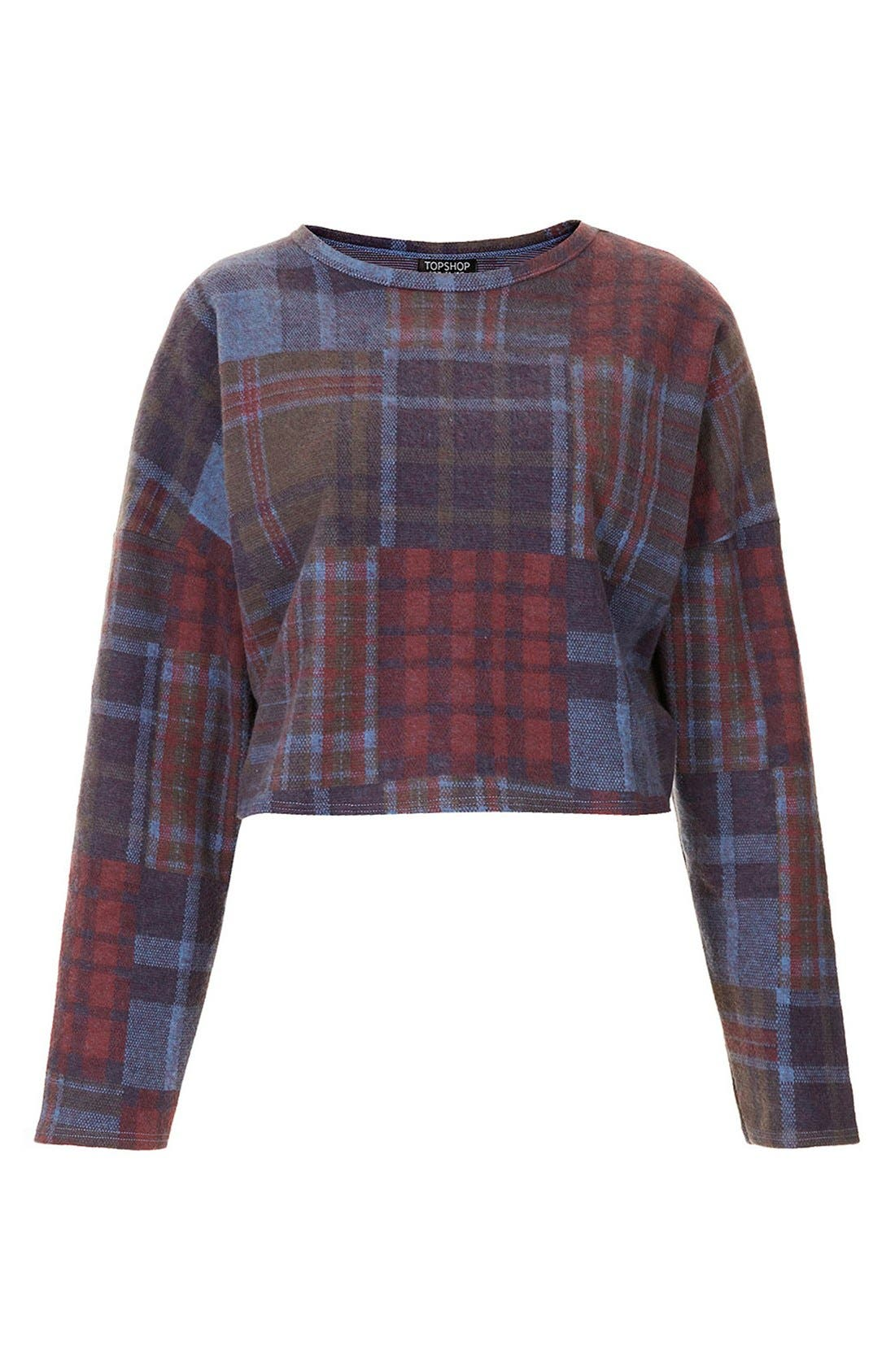 Alternate Image 3  - Topshop Mixed Plaid Crop Sweater (Petite)