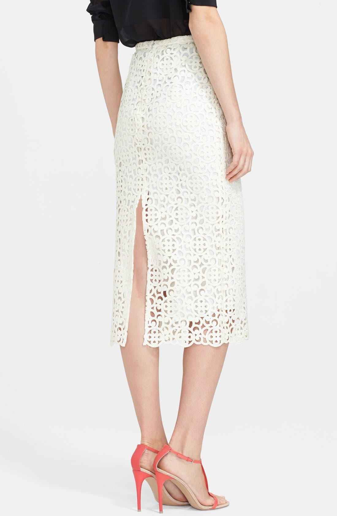 Alternate Image 2  - Burberry Prorsum Embroidered Lace Midi Skirt