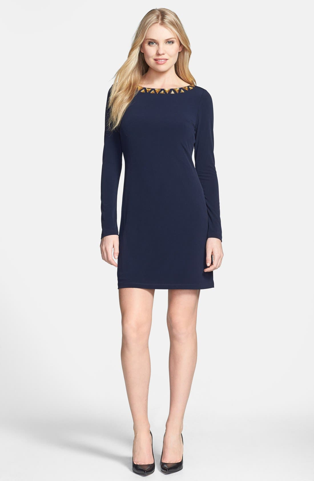 Alternate Image 2  - Vince Camuto Embellished Neckline Matte Jersey Dress