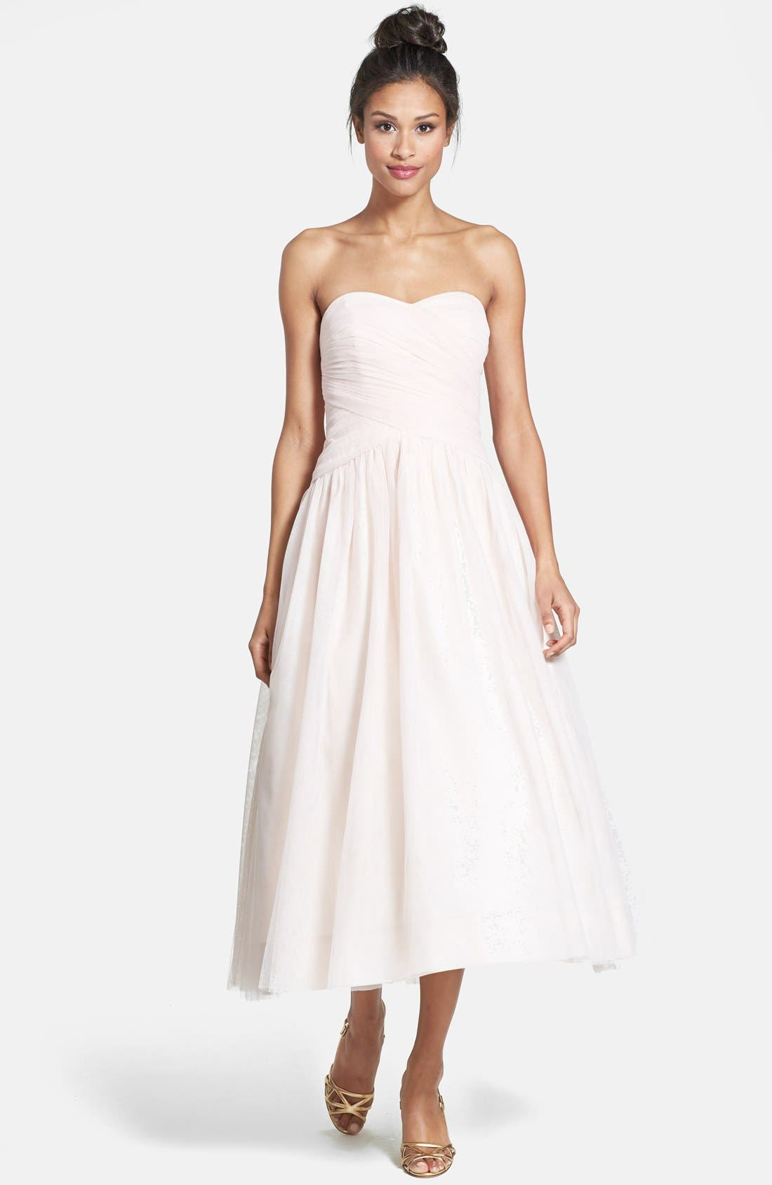 Main Image - Monique Lhuillier Bridesmaids Tulle Tea-Length Dress