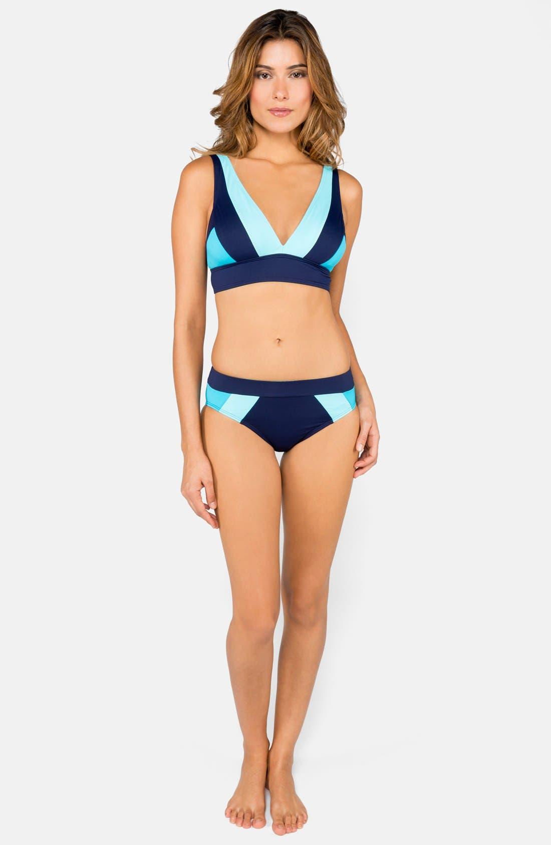 Alternate Image 3  - DKNY Colorblock V-Neck Bikini Top