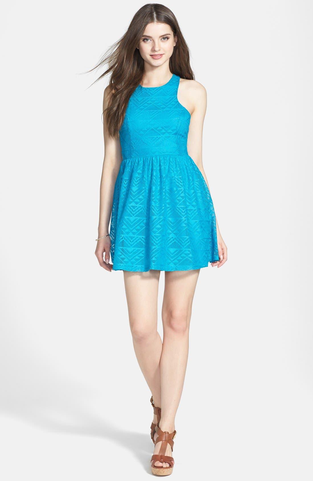 Alternate Image 1 Selected - Socialite Geometric Open Knit Skater Dress (Juniors)