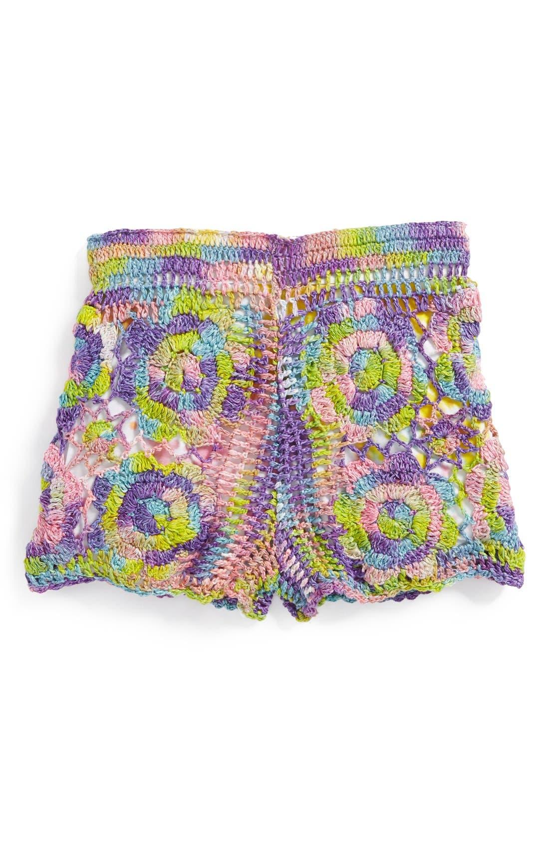 Alternate Image 1 Selected - Flowers by Zoe Crochet Shorts (Little Girls)