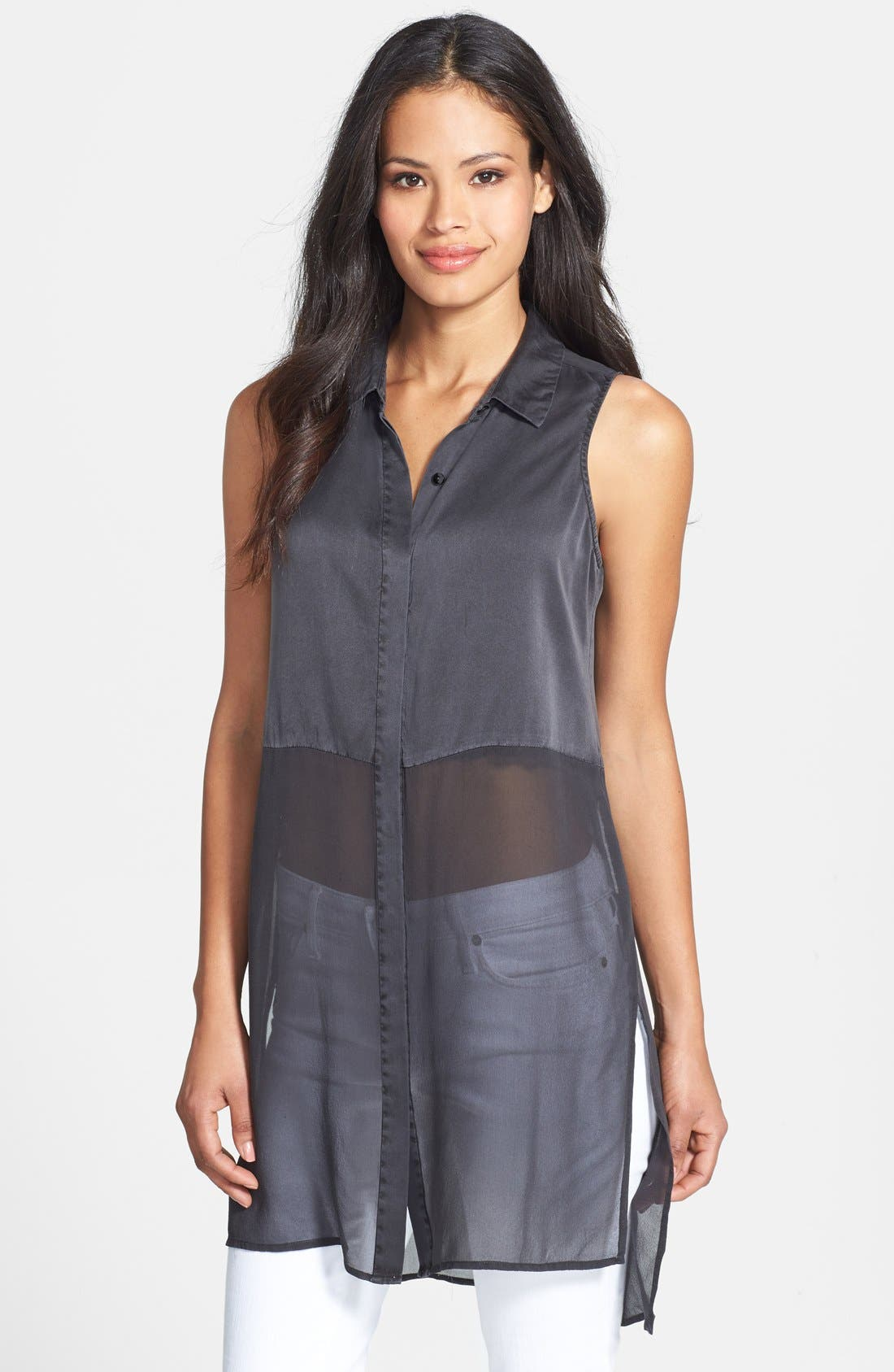 Alternate Image 1 Selected - Eileen Fisher Sleeveless Silk Shirt