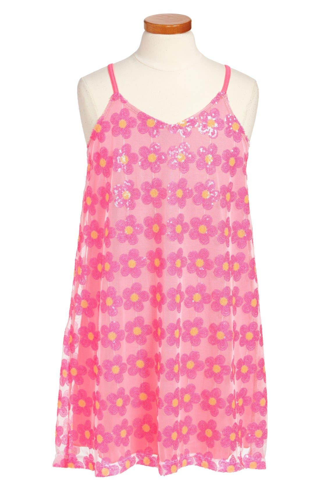 Main Image - Flowers by Zoe 'Daisy' Mesh Dress (Big Girls)