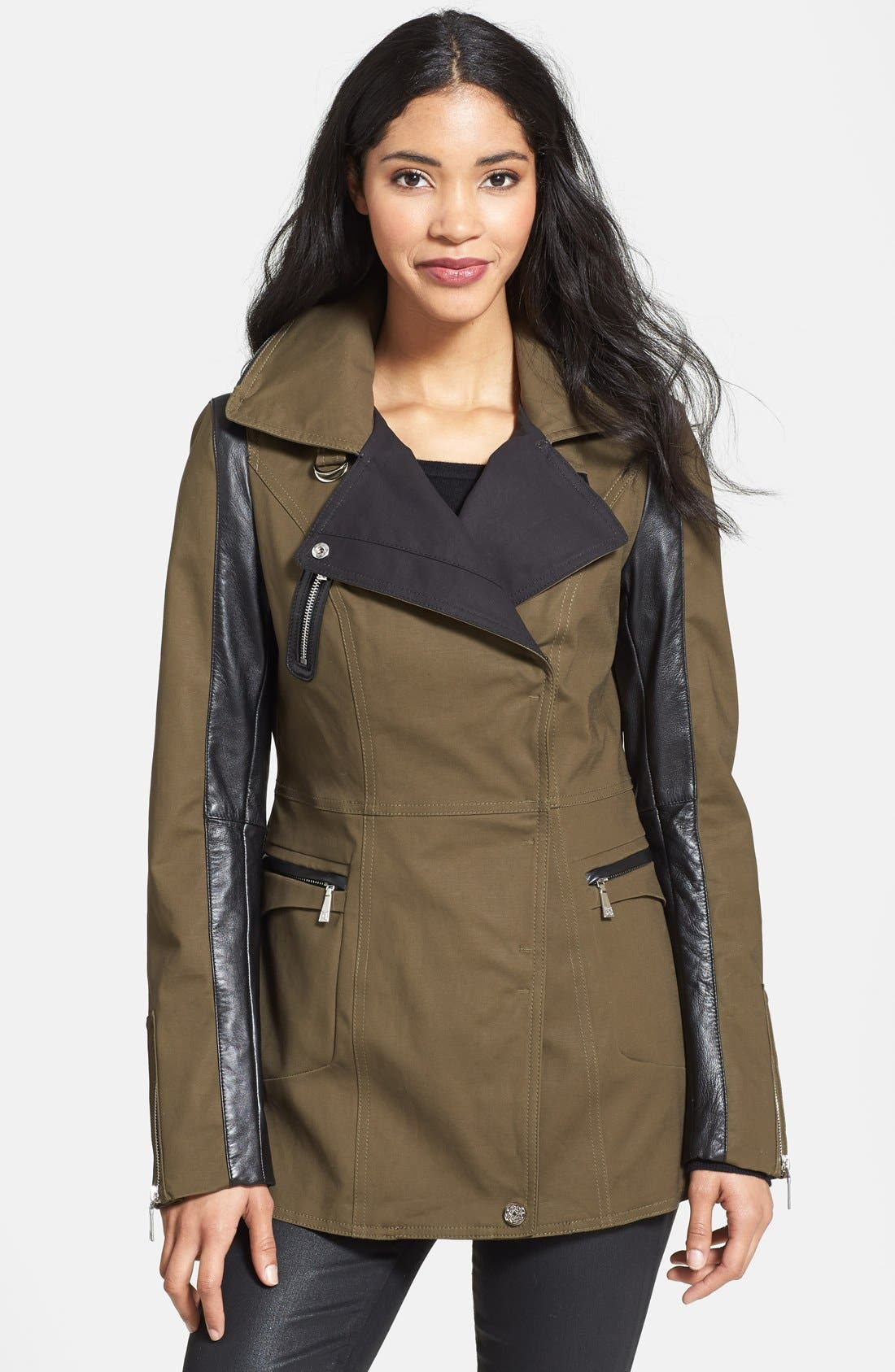 Alternate Image 1 Selected - Dawn Levy Leather Sleeve Asymmetrical Jacket