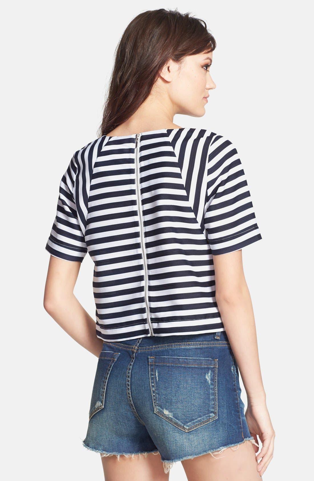 Alternate Image 2  - JOA Stripe Jacquard Crop Top