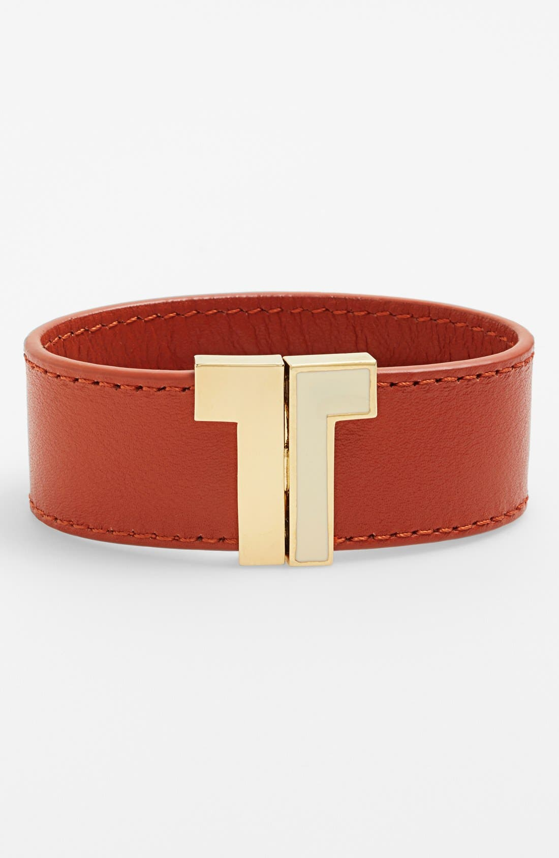 Alternate Image 1 Selected - Tory Burch T-Clasp Leather Bracelet