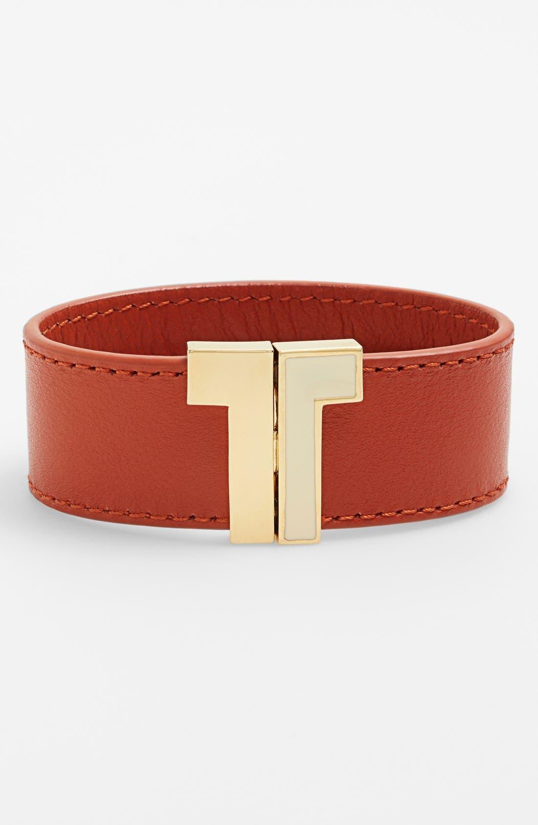 Main Image - Tory Burch T-Clasp Leather Bracelet