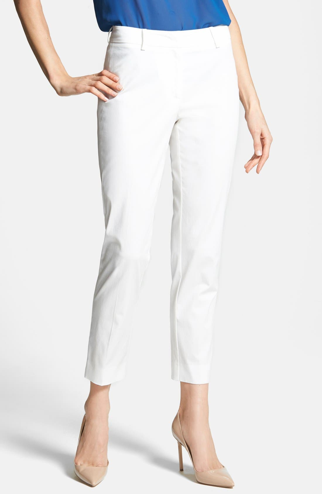Alternate Image 1 Selected - Weekend Max Mara Stretch Cotton Ankle Pants