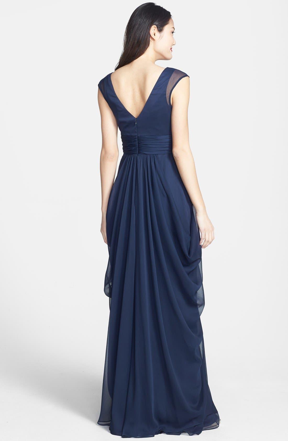 Alternate Image 2  - Lela Rose Bridesmaid Drape Crinkled Chiffon Gown