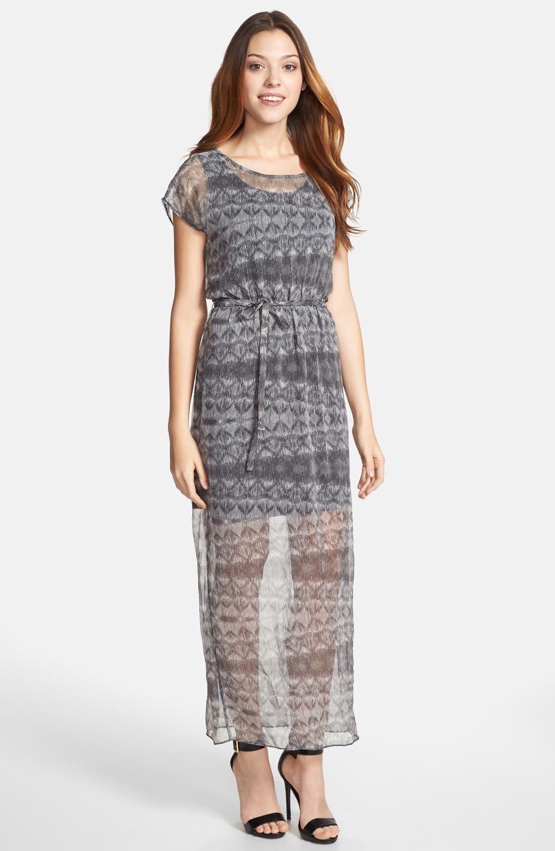 Alternate Image 1 Selected - Olive & Oak Tie Waist Print Maxi Dress