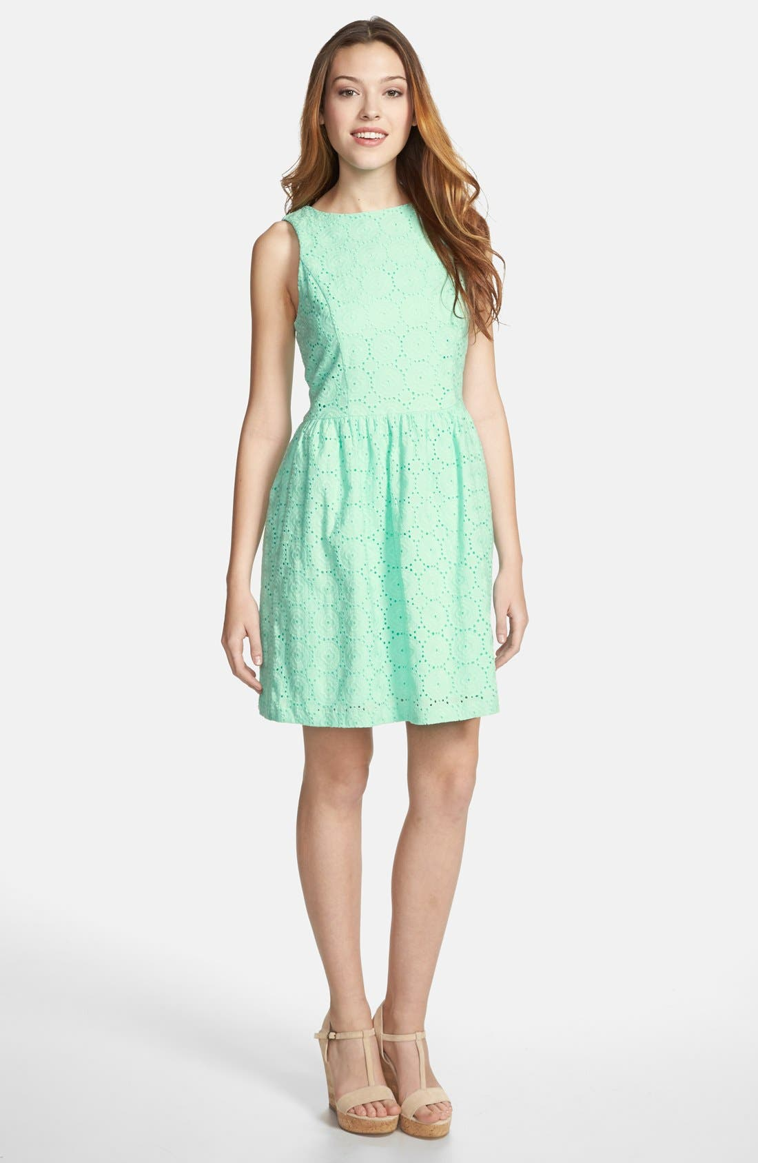 Main Image - kensie Embroidered Eyelet Fit & Flare Dress