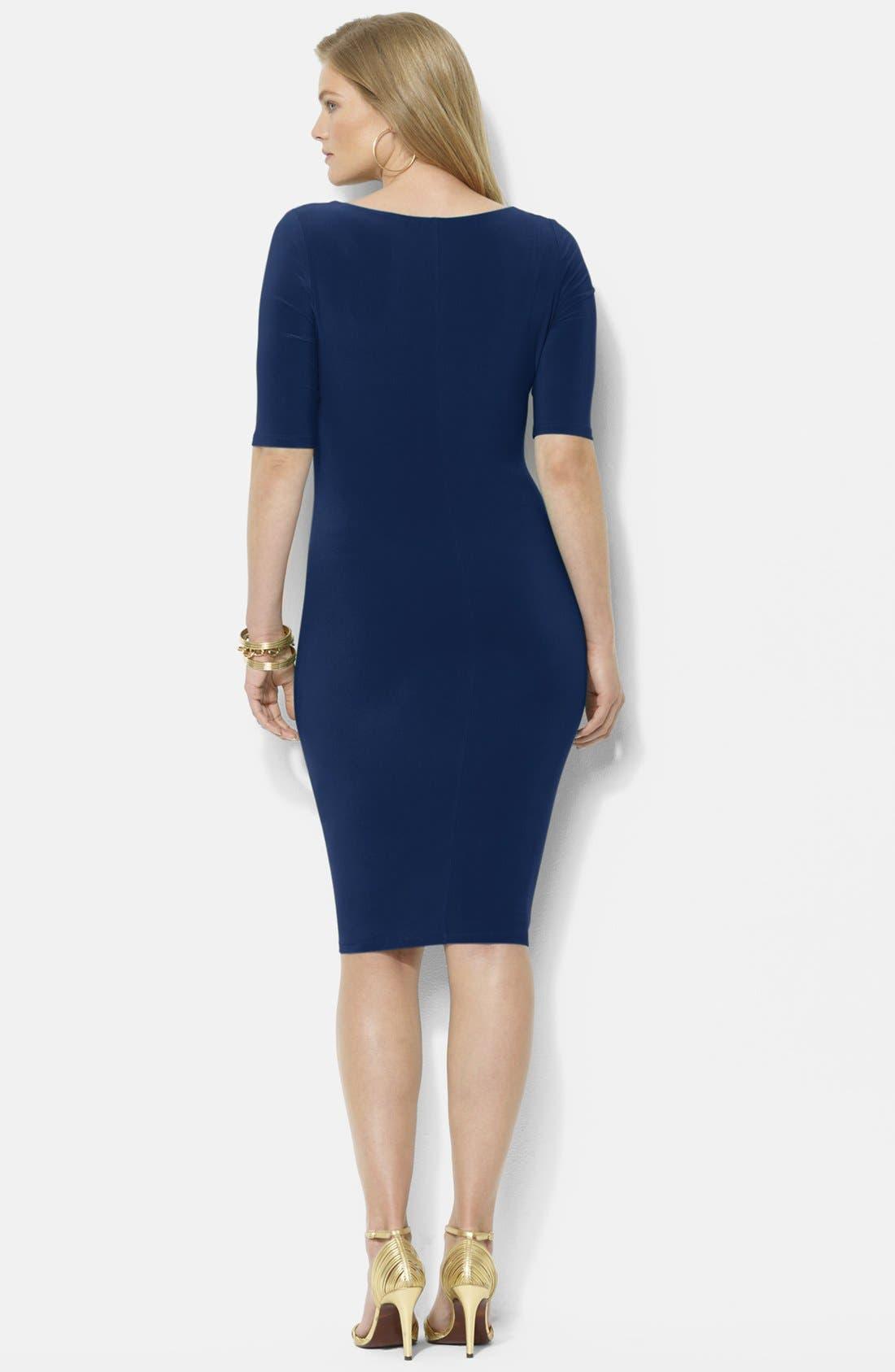 Alternate Image 2  - Lauren Ralph Lauren Matte Jersey Cowl Neck Dress (Plus Size)