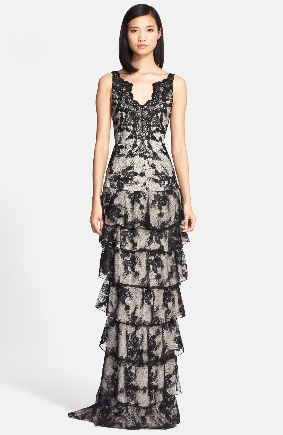 Main Image - Alice + Olivia 'Powell' Tiered Lace Column Gown