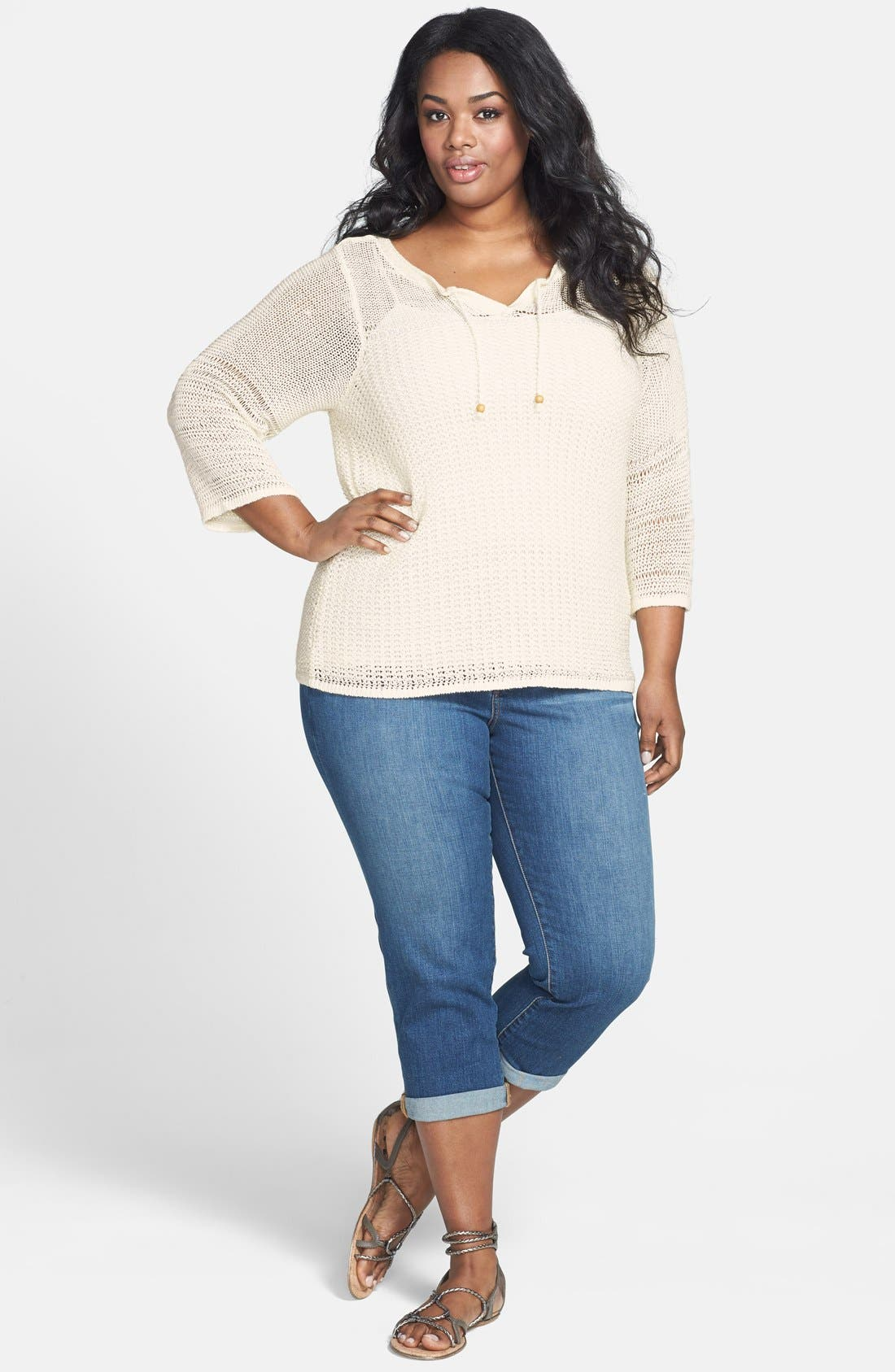 Alternate Image 4  - Lucky Brand 'Millbrae' Bell Sleeve Sweater (Plus Size)