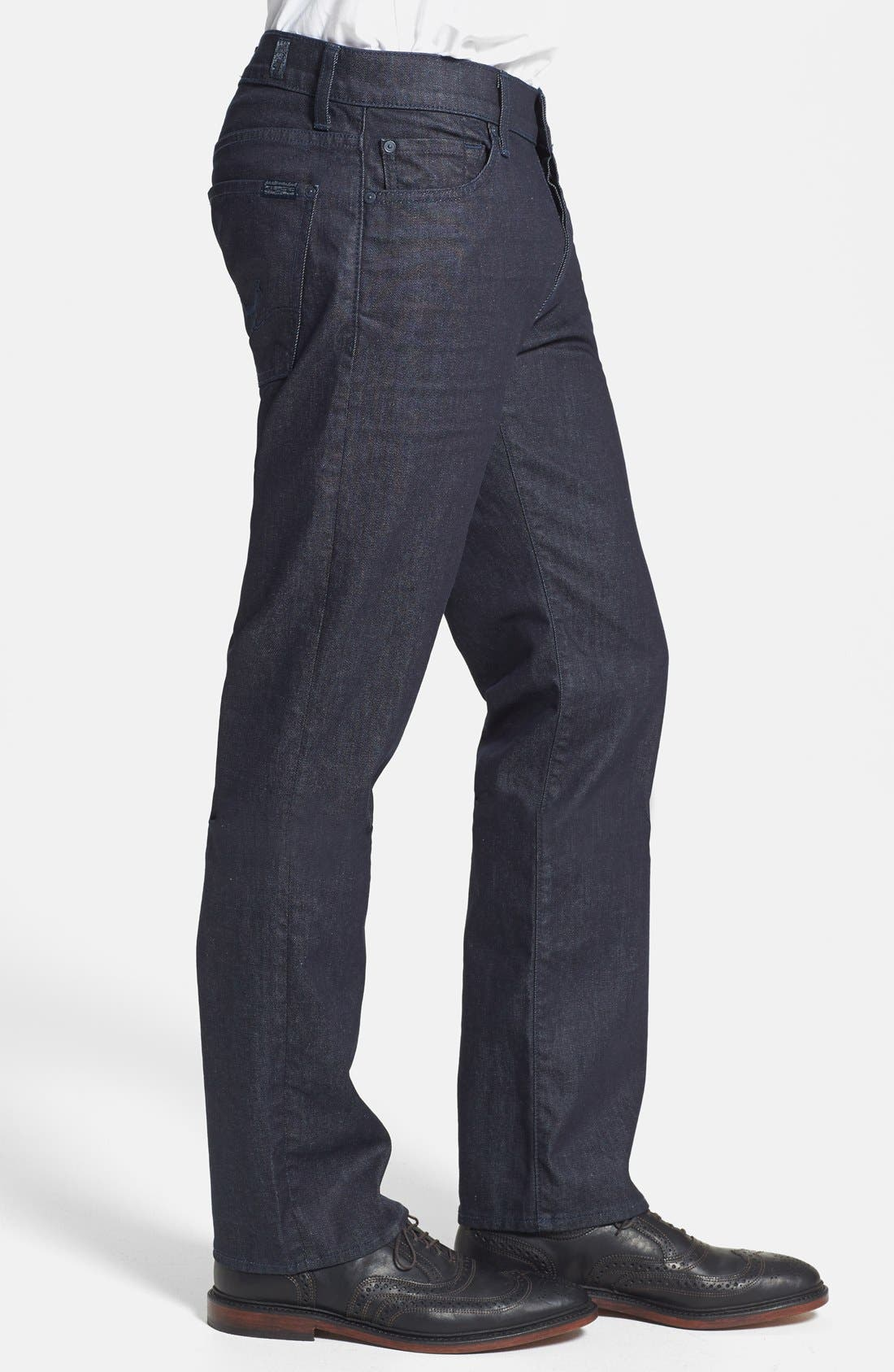 Alternate Image 3  - 7 For All Mankind® 'Standard' Straight Leg Jeans (Deep Indigo)
