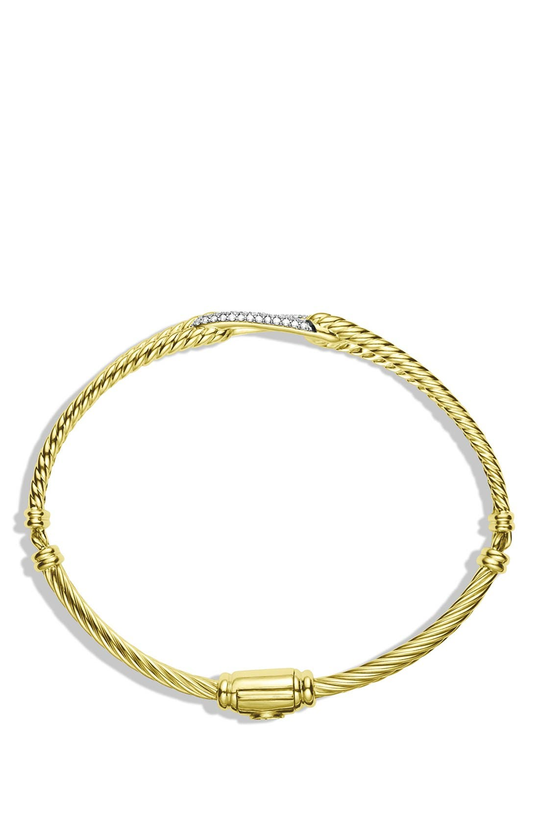 Alternate Image 2  - David Yurman Petite Pavé 'Labyrinth' Mini Single Loop Bracelet with Diamonds in Gold