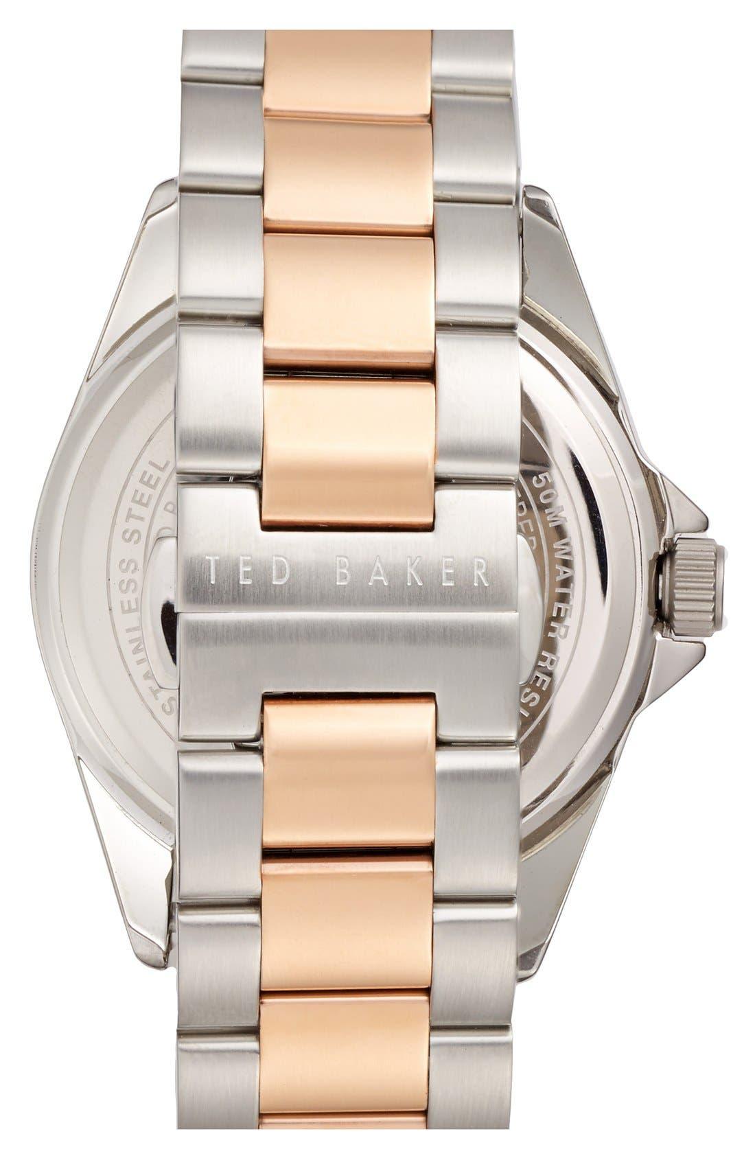 Alternate Image 2  - Ted Baker London Multifunction Two-Tone Bracelet Watch, 42mm