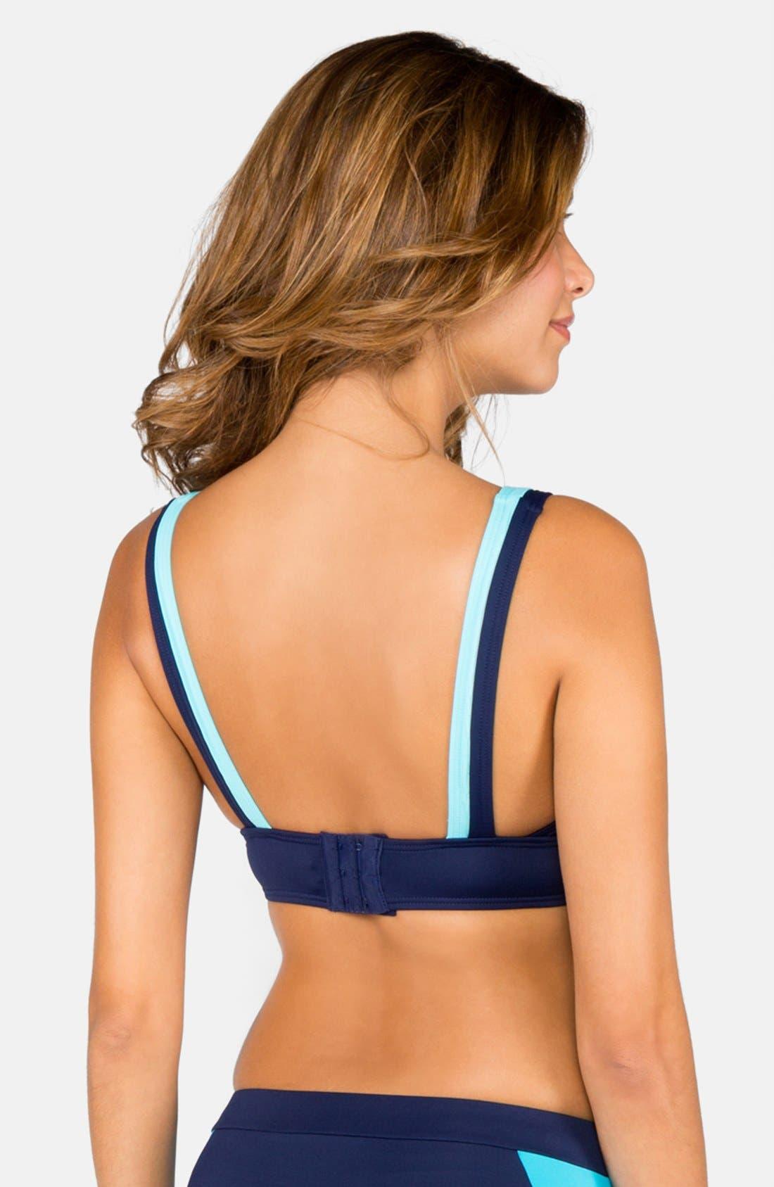 Alternate Image 2  - DKNY Colorblock V-Neck Bikini Top