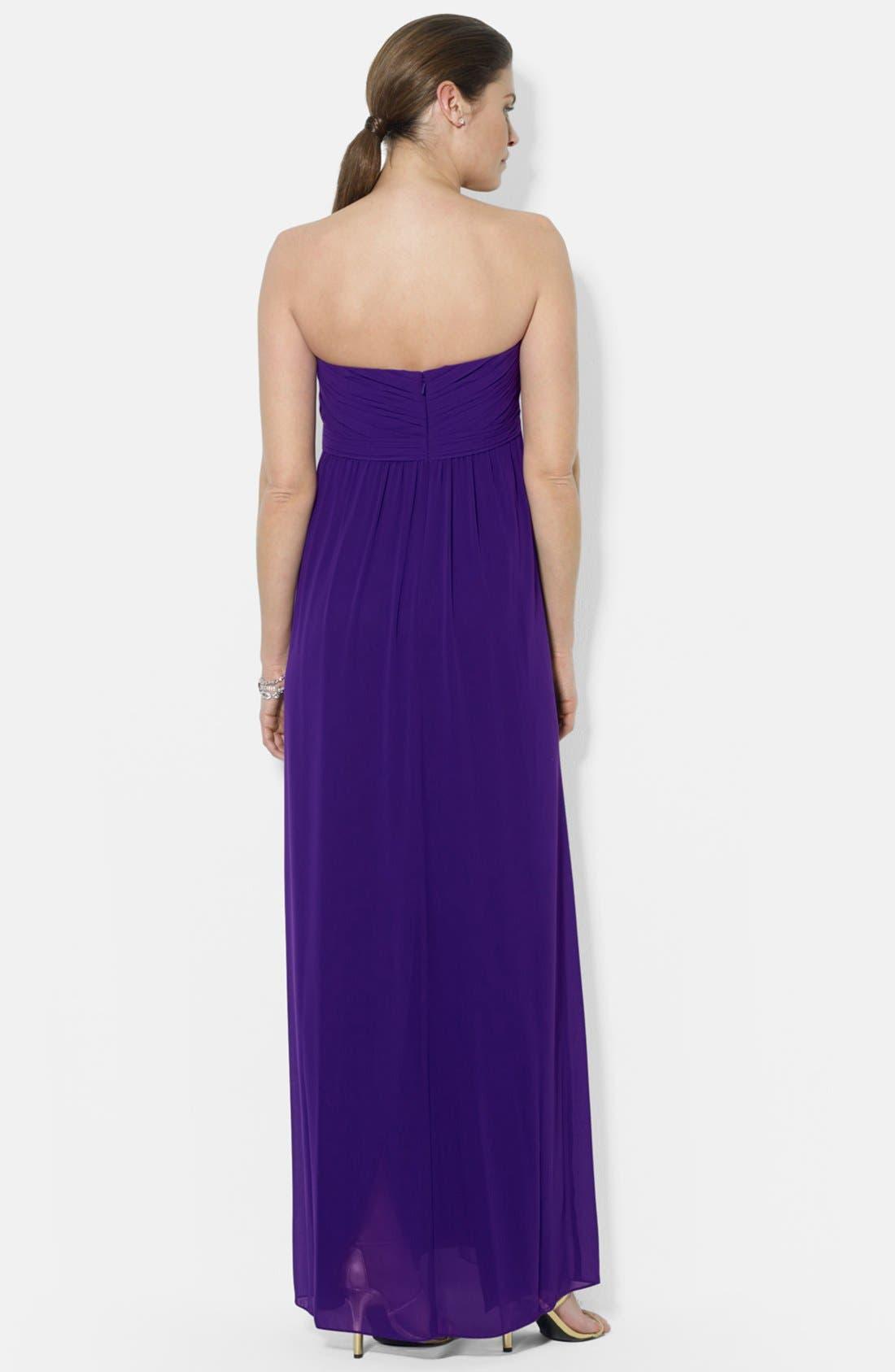 Alternate Image 2  - Lauren Ralph Lauren Strapless Gathered Empire Gown
