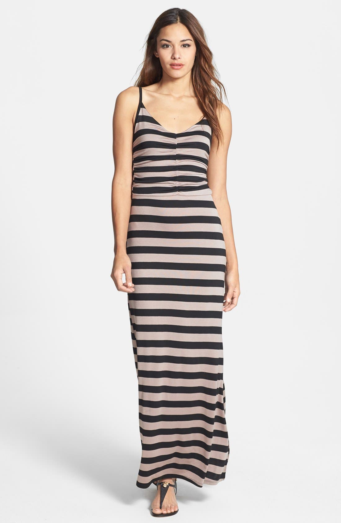 Main Image - Loveappella Shirred Bodice Maxi Dress
