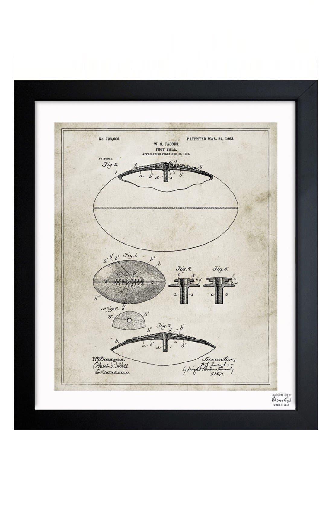 Oliver Gal 'Football Blueprint' Framed Print