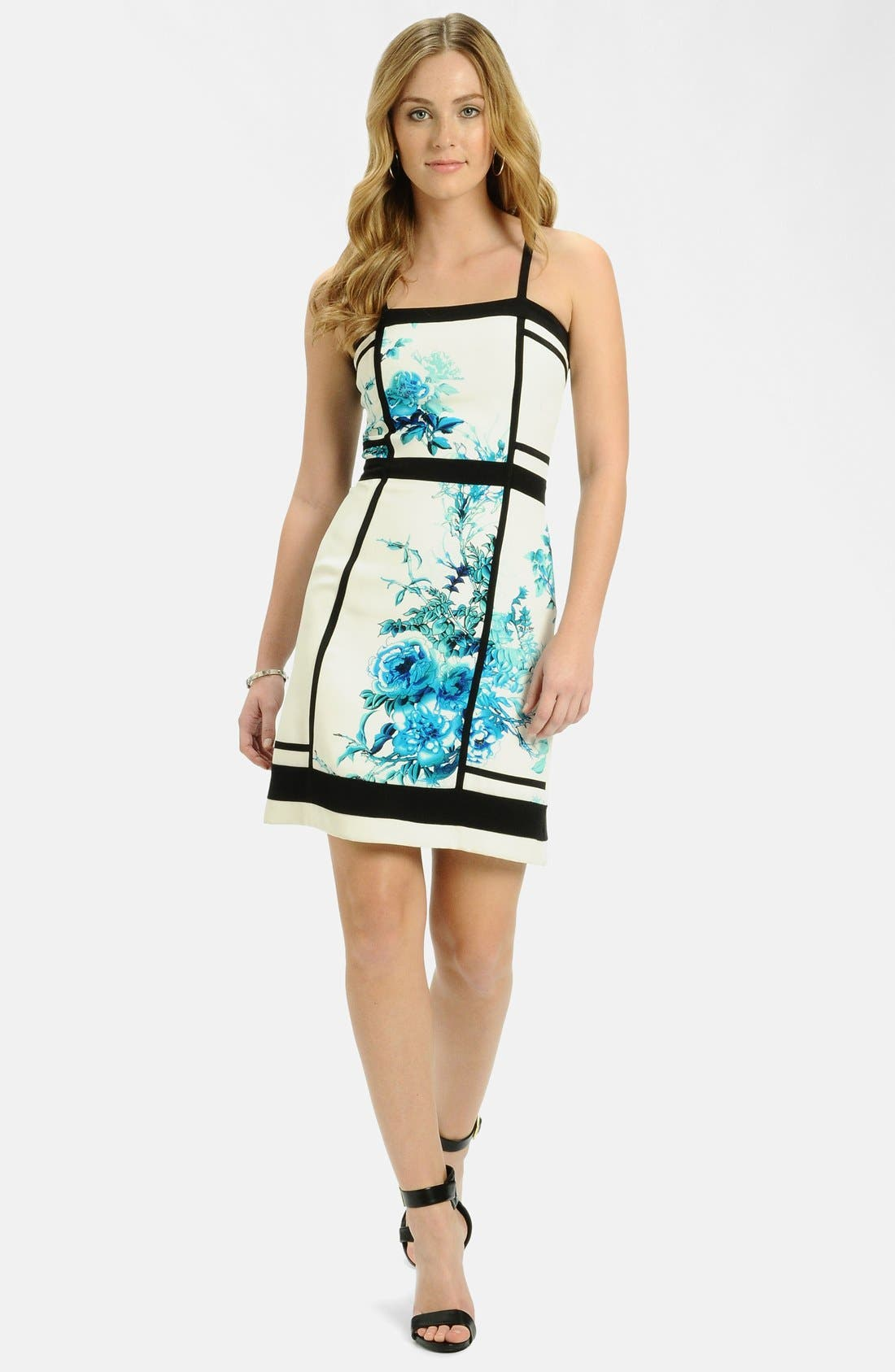 Alternate Image 3  - LABEL by five twelve Framed Print Crepe Sheath Dress