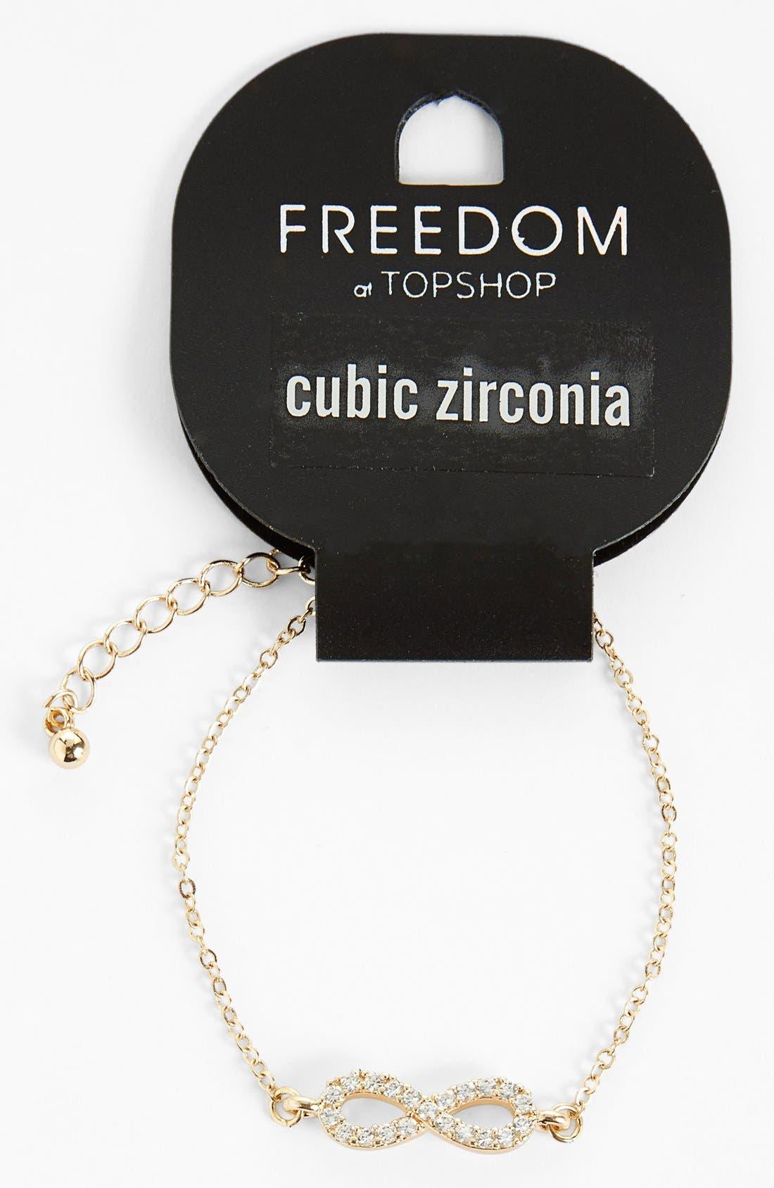 Main Image - Topshop Cubic Zirconia Infinity Bracelet