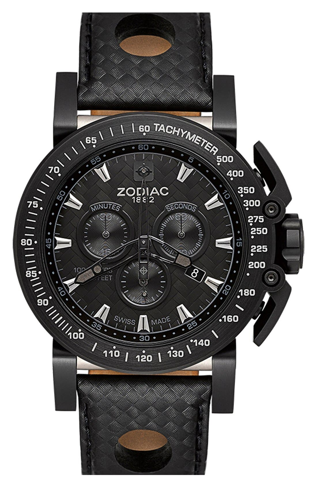 Alternate Image 1 Selected - Zodiac 'Racer' Chronograph Leather Strap Watch, 47mm
