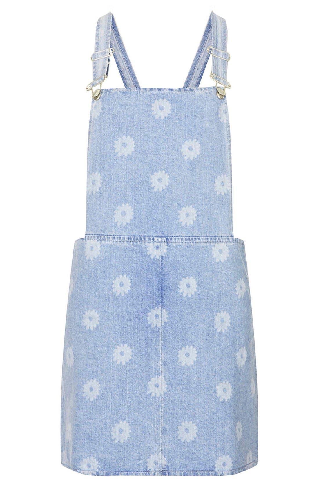 Alternate Image 3  - Topshop Moto Daisy Print Denim Pinafore Dress