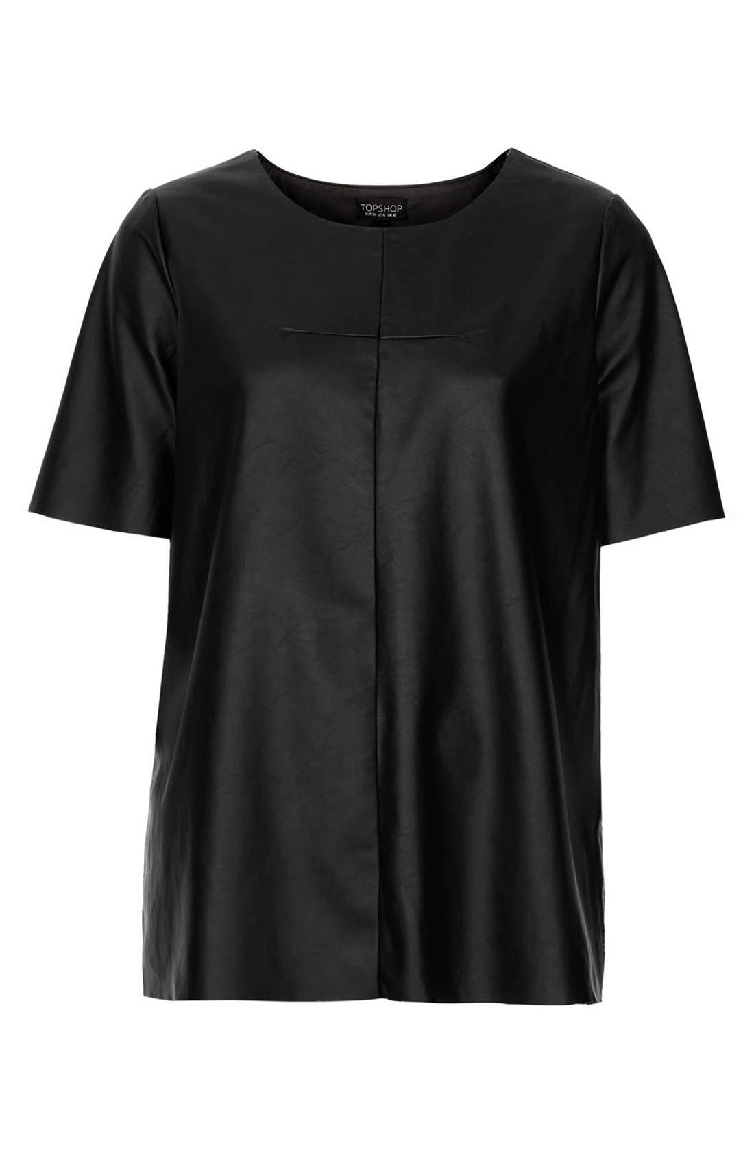 Alternate Image 3  - Topshop 'Faith' Faux Leather Tee