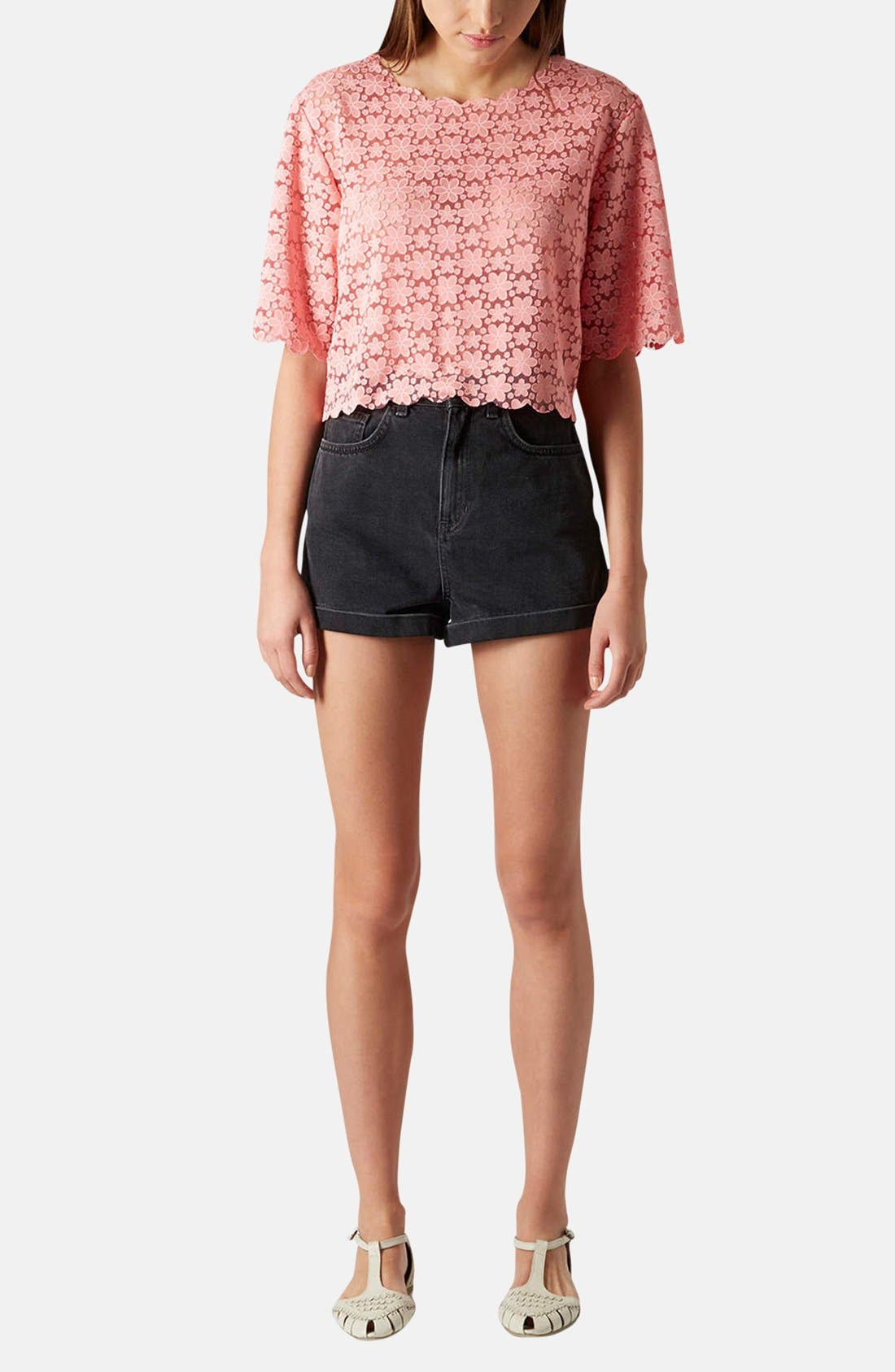 Alternate Image 5  - Topshop Daisy Burnout Crop Top
